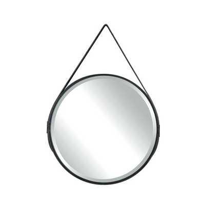 Terrain Round Metal Mirror with Leather Strap - AllModern