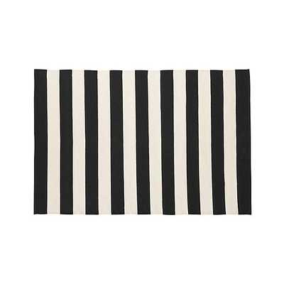 Olin Black Striped Cotton Dhurrie 4'x6' Rug - Crate and Barrel