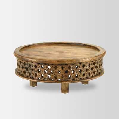 Carved Wood Coffee Table - Raw Mango - West Elm