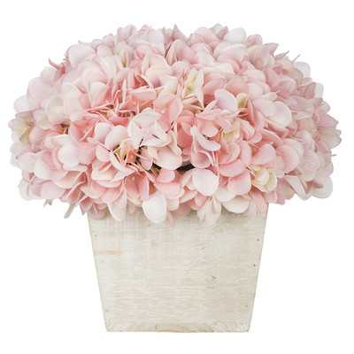 Artificial Hydrangea in White-Washed Wood Cube - Wayfair