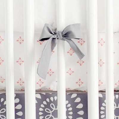 Harper in Coral Baby Bedding | Gray and Coral Crib Sheet - jackandjillboutique.com