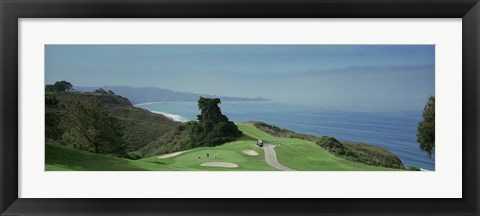 """Golf course at the coast"" art - 33"" x 15"" - framed - framedart.com"