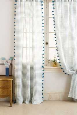 "Pom Tassel Curtain - Light Blue, 84""L - Anthropologie"