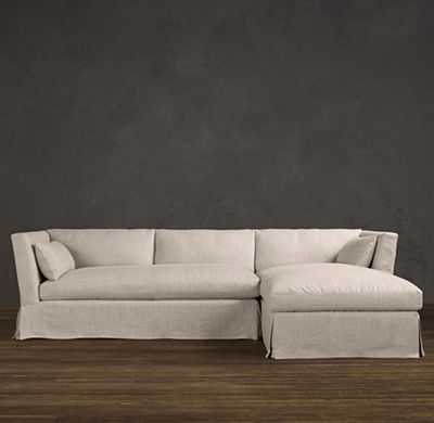 PRECONFIGURED BELGIAN SHELTER ARM SLIPCOVERED RIGHT-ARM CHAISE SECTIONAL - RH