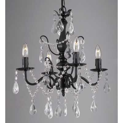Wrought Iron and Crystal 4 Light Crystal Chandelierby EverythingHome - Wayfair