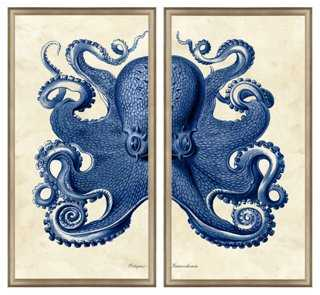 Navy Octopus Diptych - One Kings Lane