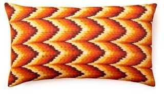Woven 14x24 Cotton Pillow, Orange/Feather down - One Kings Lane