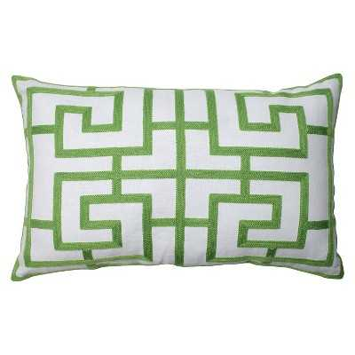 """Pillow Perfect Embroidered Geometric Rectangular Throw Pillow - 18.5""""x11.5"""" with insert - Target"""
