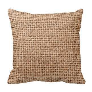 "Burlap Jute Fabric Look Brown Pillow - 16""x16"" - Synthetic-filled - zazzle.com"