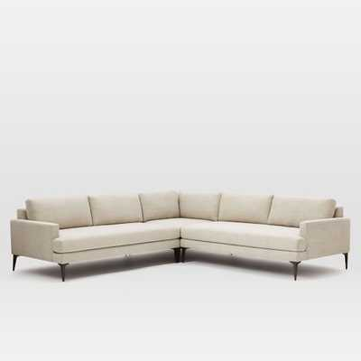Andes L-Shaped Sectional - Stone (Twill) - West Elm
