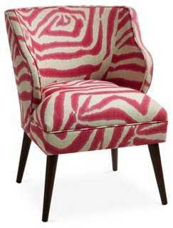 Kira Chair, Pink Zebra - One Kings Lane