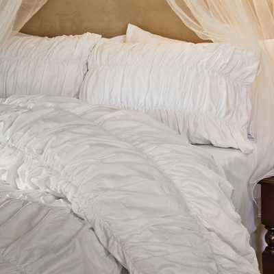 White Sutter Ruched Duvet Cover-King - Crane & Canopy