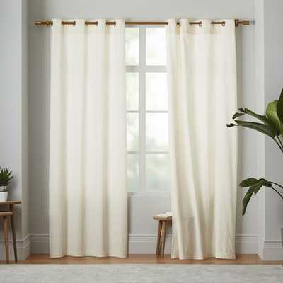"Velvet Grommet Curtain - Ivory - 108"" - West Elm"