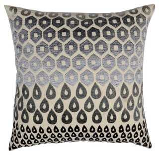 Megha 20x20 Cotton Pillow, Gray - feather/polyester insert - One Kings Lane