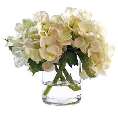 White Hydrangea in Glass Vase - Wayfair