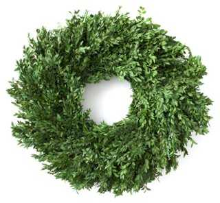 "24"" Boxwood Wreath, Preserved - One Kings Lane"