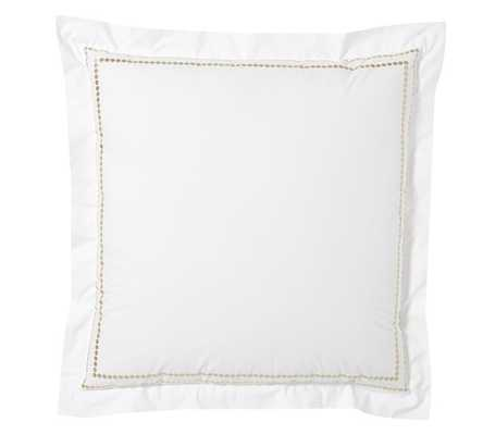 PEARL EMBROIDERED SHAM, EURO, TAUPE - Pottery Barn