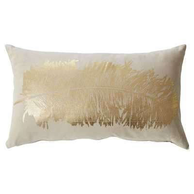 "Metallic Feather Throw Pillow - Gold - 12"" H x 20"" W x 5"" D - Feather insert - AllModern"