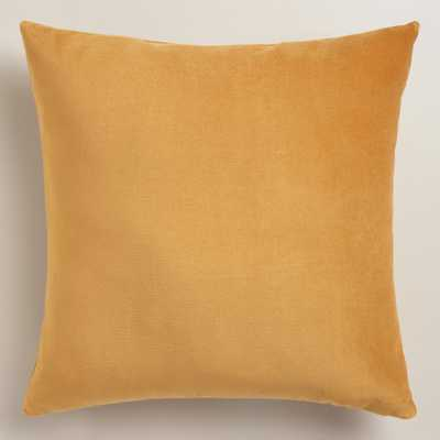 "Amber Gold Velvet Throw Pillow - 18""x18"" - polyester filling - World Market/Cost Plus"