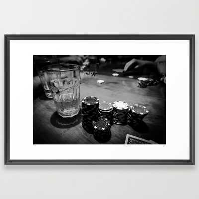 "Poker Time - FRAMED ART PRINT/SCOOP BLACK LARGE (GALLERY) (38"" X 26"") - Society6"
