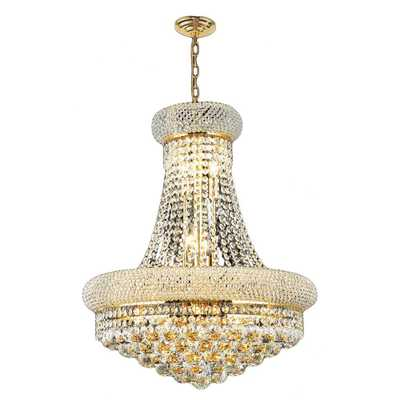 Empire 14-Light Polished Gold Chandelier with Clear Crystal - Home Depot