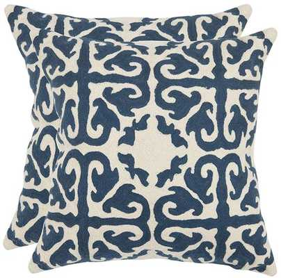 "AVIA EMBROIDERED PILLOWS - SET OF 2 - 22""- Navy- fiberfill insert - Home Decorators"