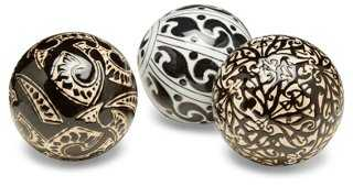 Asst. of 3 Geometric Orbs, Black/Cream - One Kings Lane