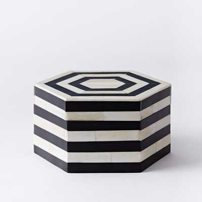 Black + White Striped Boxes - large - West Elm