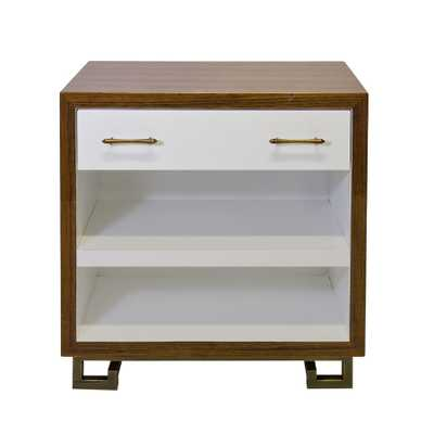 Worlds Away Roth Rosewood Veneer and White Lacquer Nightstand - Candelabra