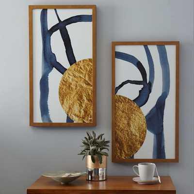 "The Arts Capsule Ink Diptych - Half Moon (Prints 1 + 2), 16""w x 28""h Framed ( Gold metallic) - West Elm"