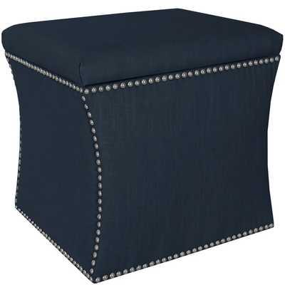Skyline Furniture Linen Navy Nail Button Storage Ottoman - Overstock