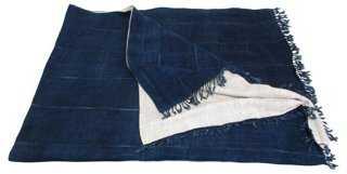 Mali Indigo & Flax Linen Bed Scarf/Throw - One Kings Lane
