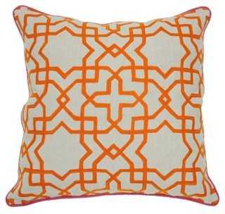 Tuile 22x22 Cotton Pillow, Orange-Down insert - One Kings Lane