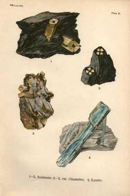 """Vintage 1911 Minerals Print Antique Gems Kyanite 4 gemstones print-8"""" x 51/2""""-Unframed - Etsy"""