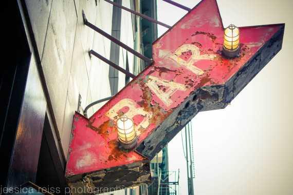 Red Bar Sign Art - 20x24 - Unfamed - Etsy
