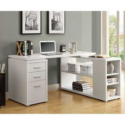 Monarch L Shaped Computer Desk in White - cymax.com