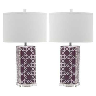 Safavieh Quatrefoil Table Lamp - Purple (Set of 2) - Target