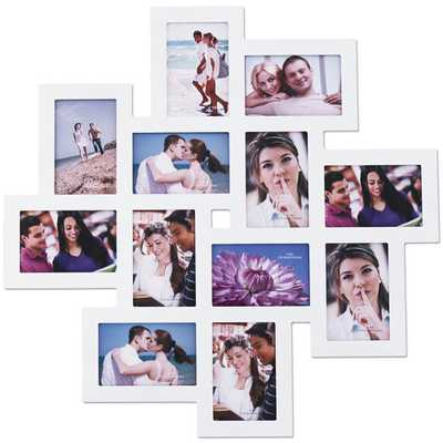 12 Opening Wood Photo Collage Wall Hanging Picture Frame - Wayfair