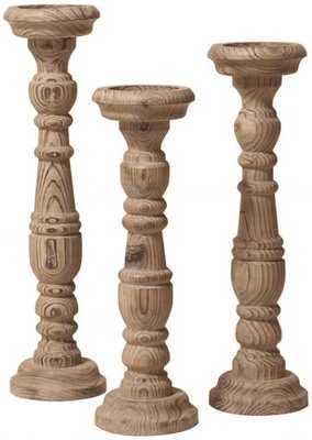 NATURAL AGED WOOD CANDLE HOLDERS - SET OF 3 - Home Decorators