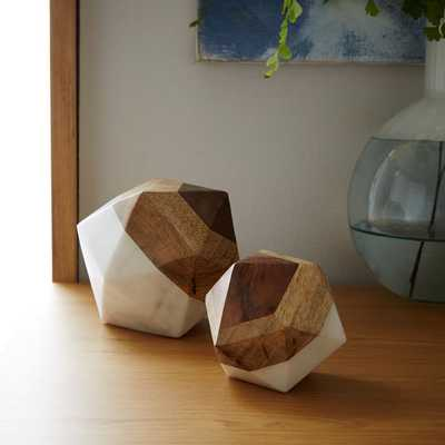 Marble + Wood Geometric Objects - Octahedron Large - West Elm