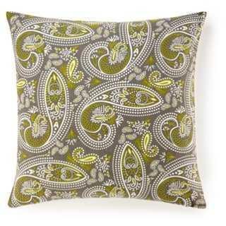 Swirl Paisley 20x20 Cotton Pillow, Green - One Kings Lane