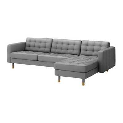 LANDSKRONA Sofa and chaise, Grann, Bomstad Gray/wood - Ikea