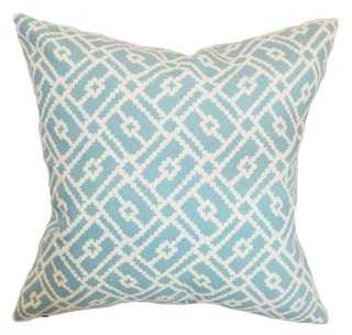 Majkin 18x18 Cotton Pillow, Turquoise - Insert, down/feathers - One Kings Lane