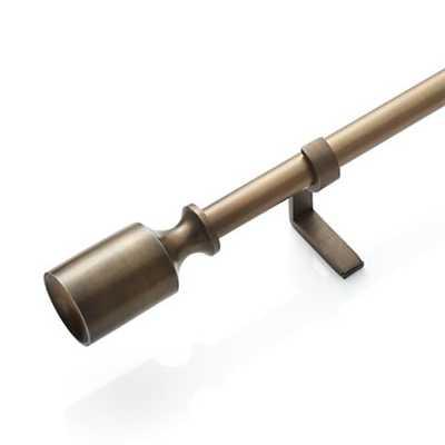 "Barnes Antiqued Brass .75""dia.x48""–88"" Curtain Rod Set - Crate and Barrel"