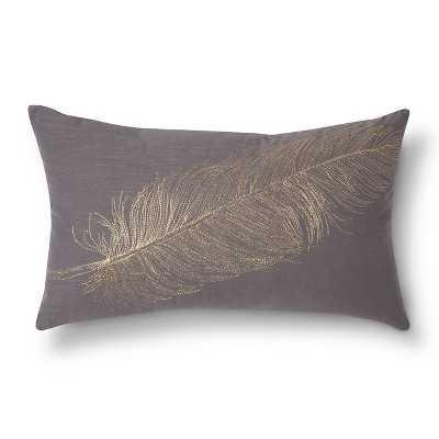 """Thresholdâ""""¢ Lumbar Metallic Feather Gray Throw Pillow - Target"""