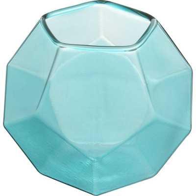 Aqua Glass Candleholder - Domino