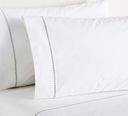 PEARL EMBROIDERED SHEET SET, QUEEN, GRAY MIST - Pottery Barn