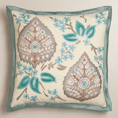 "Blue and Gray Embroidered Leaf Throw Pillow- 18""Sq.- Insert Sold Separately - World Market/Cost Plus"
