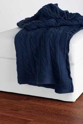 CABLE KNIT DECORATIVE THROW - Navy - Home Decorators