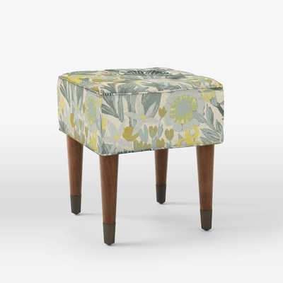 Upholstered Tufted Stool - Prints, Brushstroke Floral Horseradish - West Elm